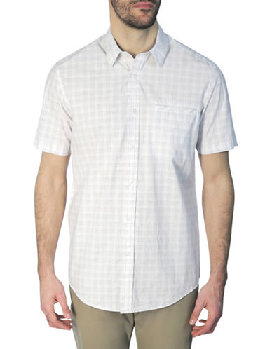 Haggar Heritage Modern-Fit Plaid Sport Shirt-WHITE-Large