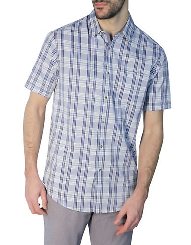 Haggar Heritage Short Sleeve Plaid Shirt-BLUE-Small