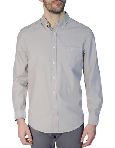 Haggar Heritage Long Sleeve Oxford Shirt-GREY-X-Large
