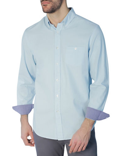 Haggar Heritage Long Sleeve Oxford Shirt-BLUE-X-Large