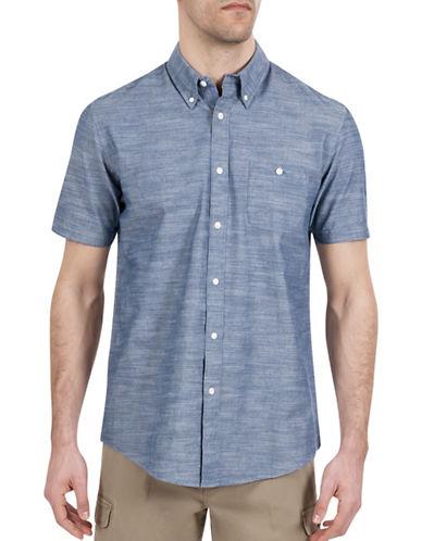 Haggar Heritage Short Sleeve Weave Shirt-NAVY BLUE-Large
