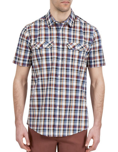 Haggar Heritage Short Sleeve Plaid Shirt-RED-Large