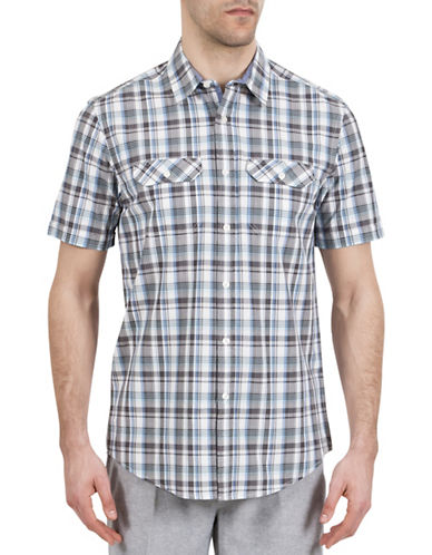 Haggar Heritage Short Sleeve Plaid Shirt-GREY-Small