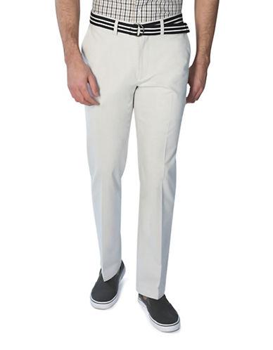 Haggar Poplin Belted Stripe Pants-NATURAL-36X30