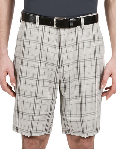 Haggar C18 Twill Plaid Shorts-GREY-34