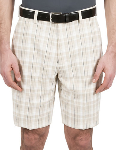 Haggar Straight-Fit Light Plaid Shorts-NATURAL-42