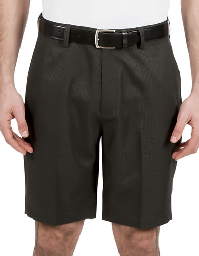 Haggar Big and Tall C18 Gingham Shorts-GREY-48