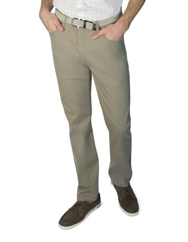 Haggar Heritage Twill Slim-Fit Pants-NATURAL-40X32
