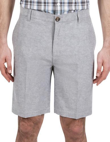 Haggar Heritage Linen Blend Shorts-LIGHT BLUE-34