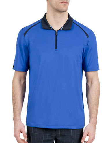Haggar Big and Tall C18 Quarter-Zip Polo-BLUE-XXX-Large