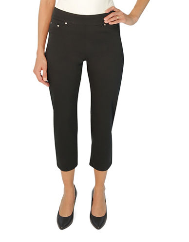 Haggar Petite Cotton-Blend Pull-On Capris-BLACK-Petite 16