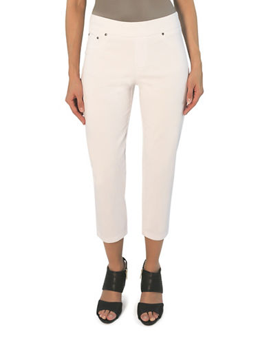 Haggar Petite Cotton-Blend Pull-On Capris-WHITE-Petite 14