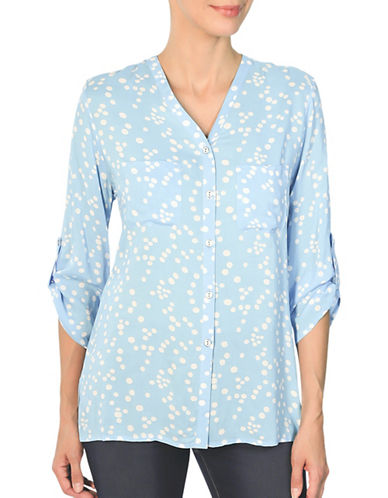 Haggar Challis Roll-Up Blouse-BLUE-Small 89144015_BLUE_Small
