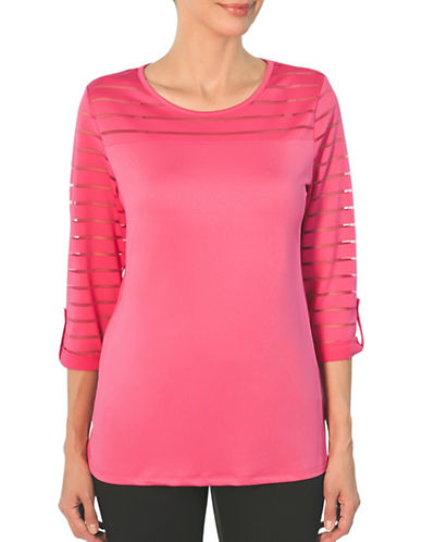 Haggar Boat Neck Mesh Knitted Top-PINK-Large 89055586_PINK_Large