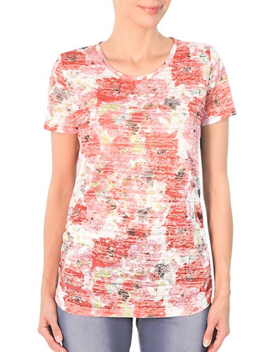 Haggar Water Floral-Print Burnout Tee-PINK-Medium 89231402_PINK_Medium