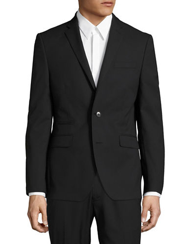 Kenneth Cole Reaction Intarsia Suit Jacket-BLACK-46 Regular