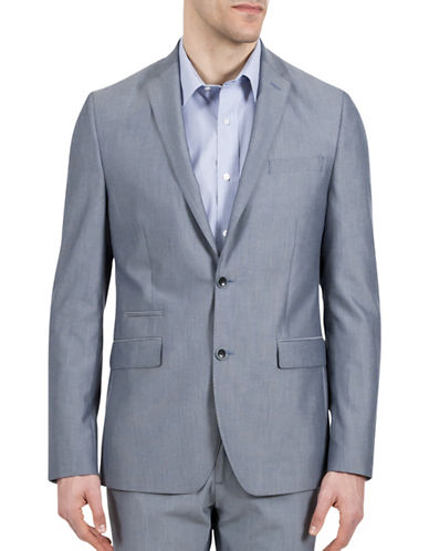 Kenneth Cole Reaction Cotton-Blend Suit Jacket-BLUE-40 Tall