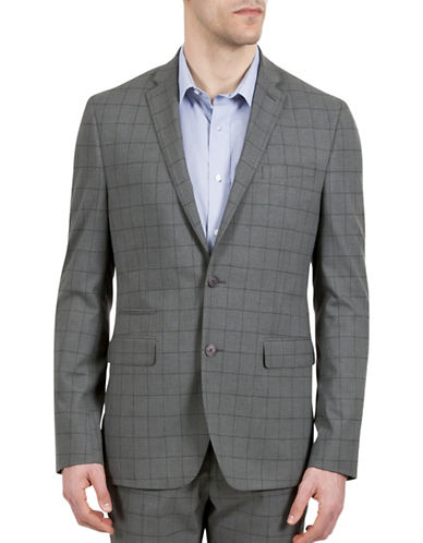 Kenneth Cole Reaction Windowpane Suit Separate Jacket-GREY-40 Regular