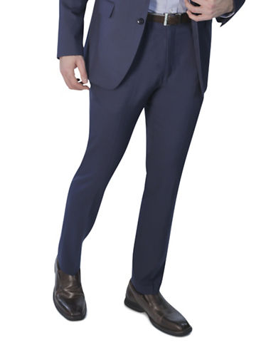 Kenneth Cole Reaction Slim-Fit Suit Pants-BLUE-34X32