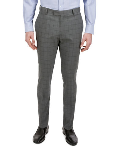 Kenneth Cole Reaction Slim Fit-Windowpane Suit Pant-GREY-38X34