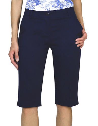 Haggar Petite Refined Bermuda Shorts-BLUE-Petite 6