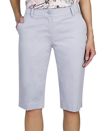 Haggar Petite Refined Bermuda Shorts-GREY-Petite 16