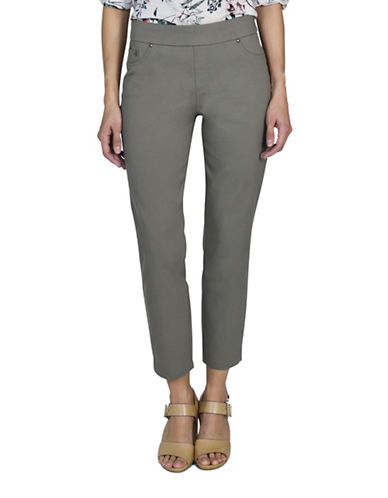 Haggar Pull On Stretch Twill Pants-OLIVE-6