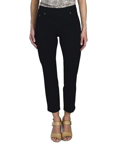 Haggar Petite Pull On Stretch Twill Pants-BLACK-Petite 10