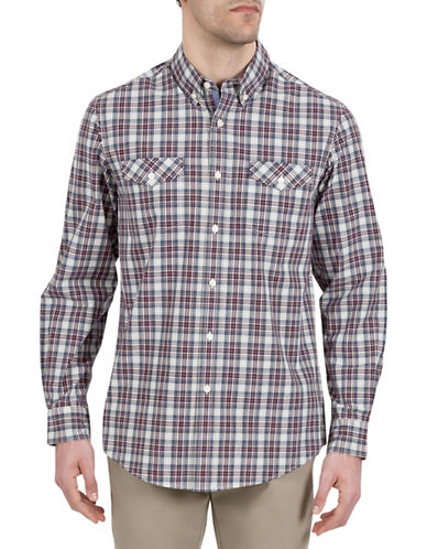 Haggar Heritage Plaid Cotton Sport Shirt-BROWN-X-Large