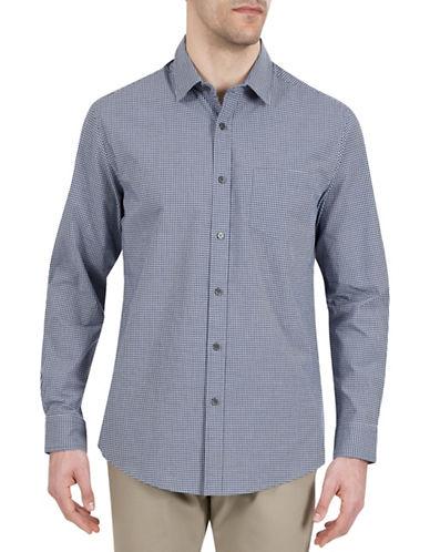Haggar Heritage Mini Check Sport Shirt-BLUE-Medium