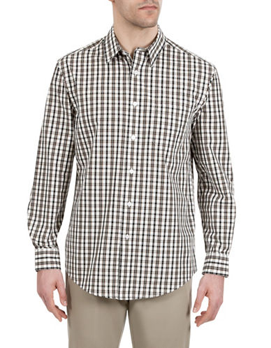 Haggar Plaid Patterned Sport Shirt-BEIGE-X-Large