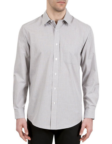 Haggar Mini Check Sport Shirt-WHITE-X-Large