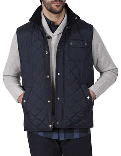 Haggar Heritage Padded Snap Front Vest-NAVY-Medium