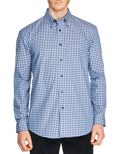 Haggar Two-Tone Check Sport Shirt-BLUE-Medium
