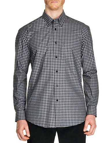 Haggar Two-Tone Check Sport Shirt-CHARCOAL-Large