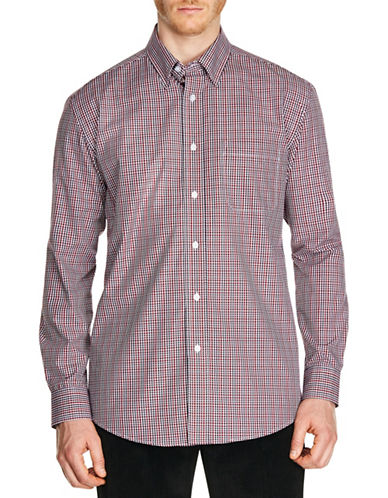 Haggar Mini Grid Sport Shirt-RED-Large