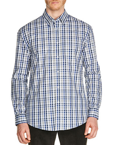 Haggar End On End Check Sport Shirt-BLUE-Small
