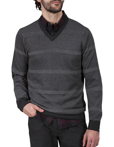 Haggar Striped V-Neck Cotton Sweater-CHARCOAL-XX-Large