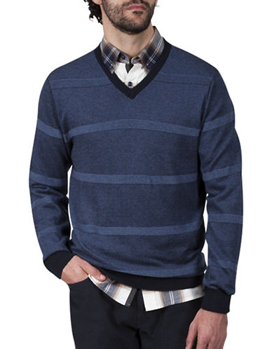 Haggar Striped V-Neck Cotton Sweater-NAVY-Medium