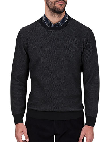 Haggar Crewneck Cotton Sweater-BLACK-Large