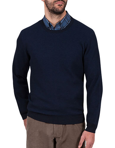 Haggar Crew Neck Cotton Sweater-NAVY BLUE-Large