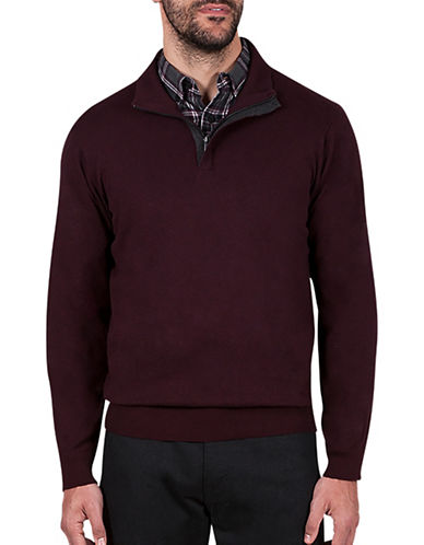 Haggar Quarter-Zip Mockneck Sweater-BURGUNDY-X-Large
