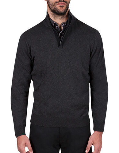 Haggar Quarter-Zip Mockneck Sweater-CHARCOAL-Medium