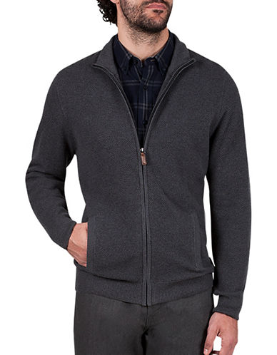 Haggar Regular-Fit Full Zip Sweater-CHARCOAL-X-Large