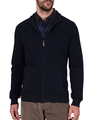 Haggar Regular-Fit Full Zip Sweater-NAVY BLUE-Medium