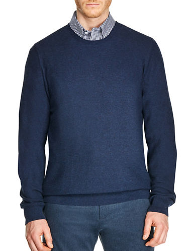 Haggar Honeycomb Stitch Crew Neck Sweater-BLUE-Small
