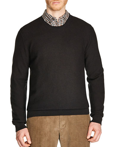 Haggar Honeycomb Stitch Crew Neck Sweater-BROWN-X-Large