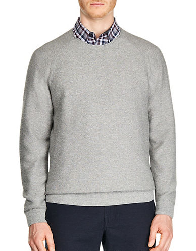 Haggar Heritage Raglan Sleeve Cotton Sweater-GREY-Medium