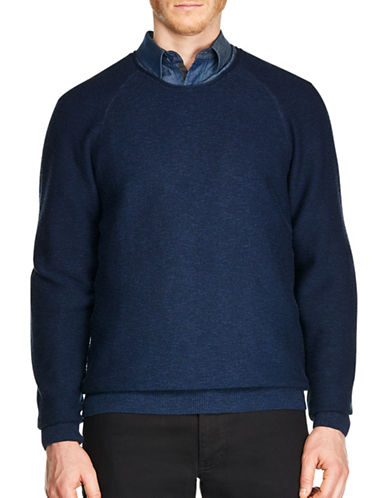 Haggar Heritage Raglan Sleeve Cotton Sweater-NAVY-Small
