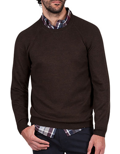 Haggar Heritage Raglan Sleeve Sweater-BROWN-Medium